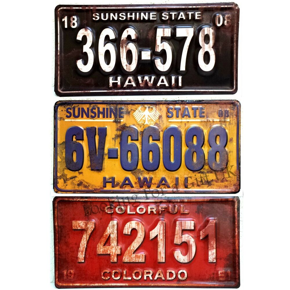 Automotive Tin Signs : Embossed metal american car number plate replica sign