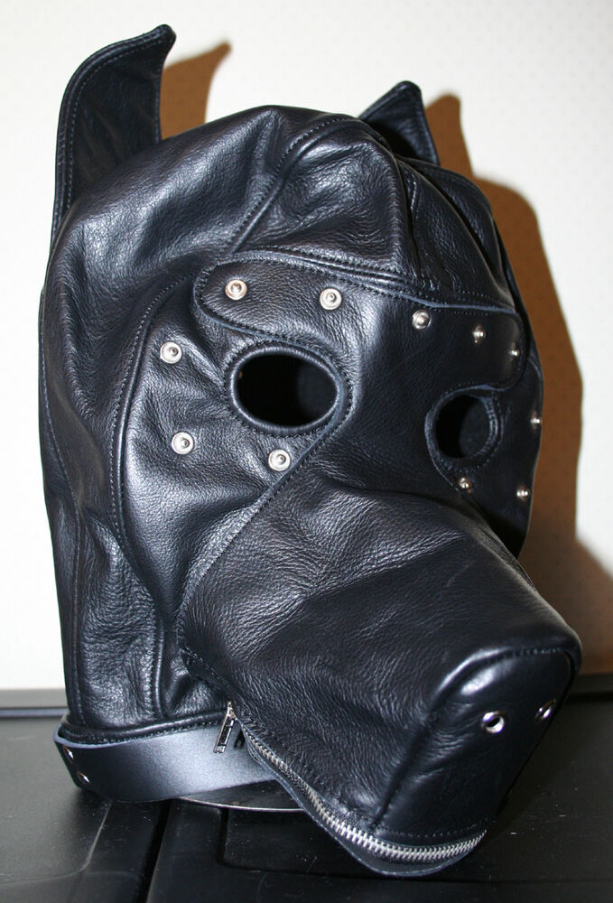 Dog Puppy Play Mask: Real Leather Black Puppy Play Hood, Dog Mask, Blindfold