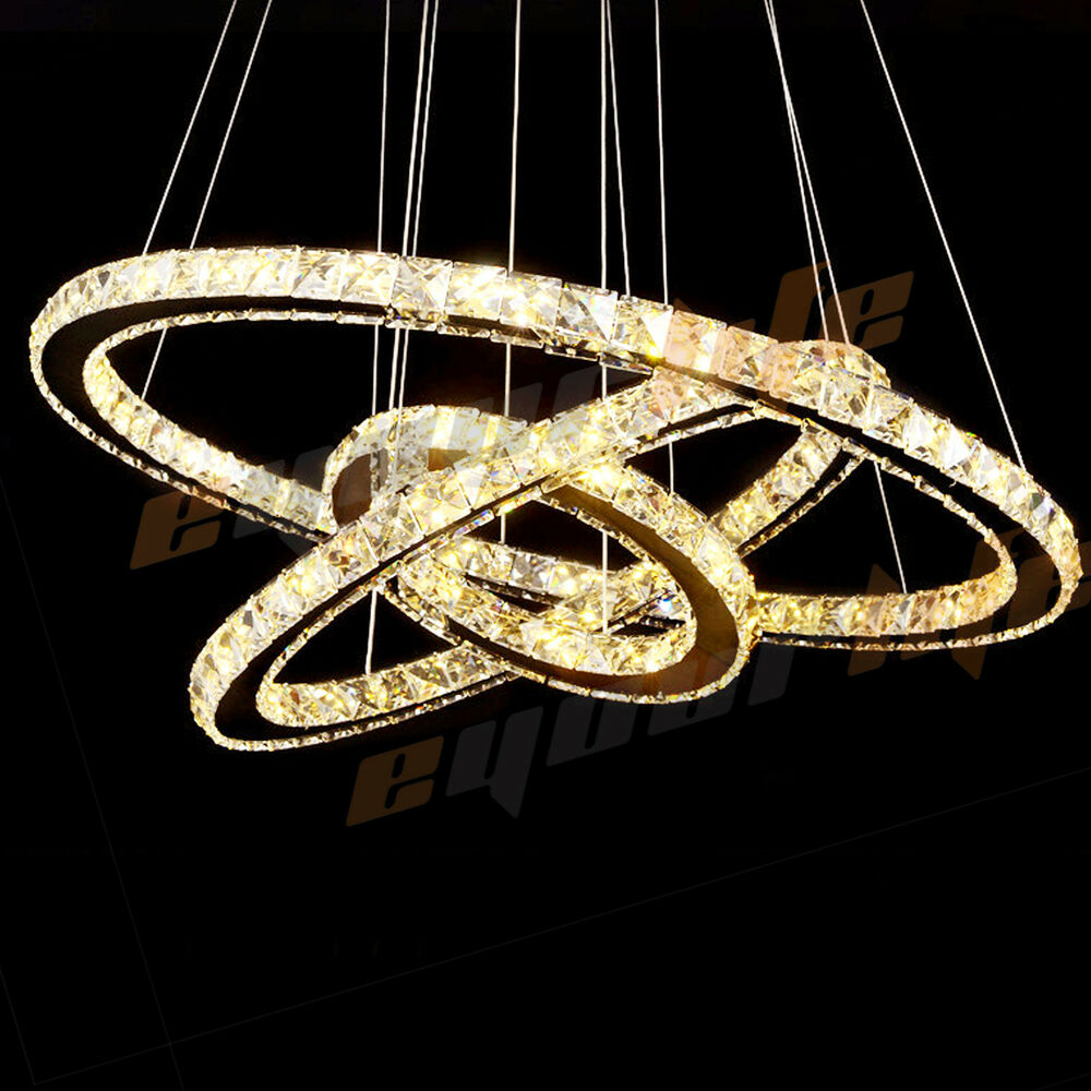 Modern Galaxy Crystal Chandelier Rings Pendant Led Light