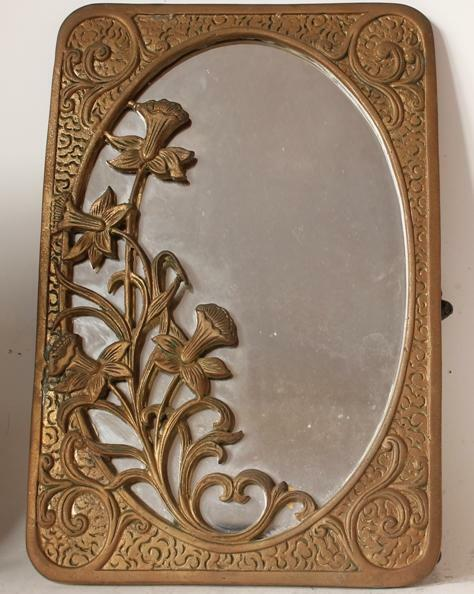 Antique Art Nouveau Cast Bronze Sculptural Table Mirror