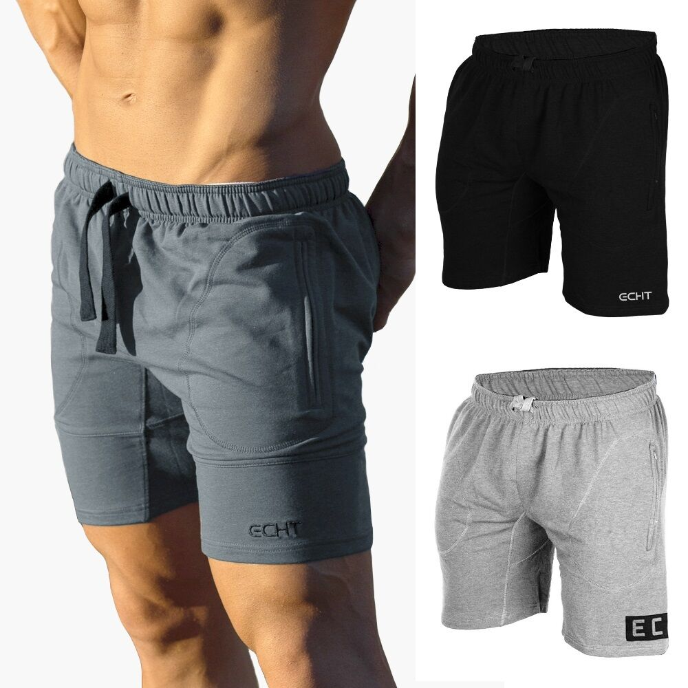 ECHT. Charcoal Jet Black Shorts MENS, GYM, BODYBUILDING ...
