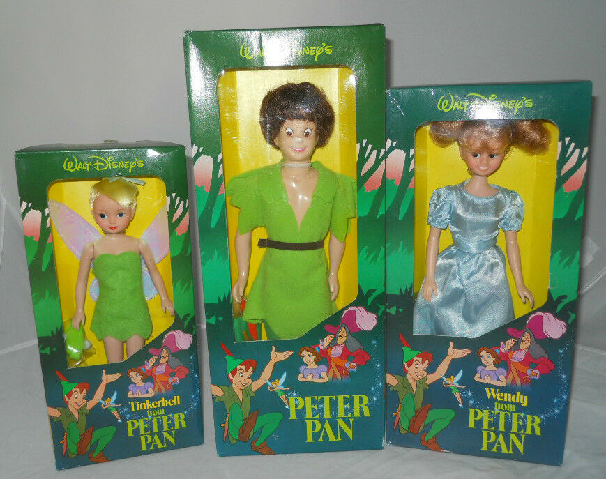 set of 3 walt disney peter pan wendy tinkerbell doll action figure new ebay. Black Bedroom Furniture Sets. Home Design Ideas