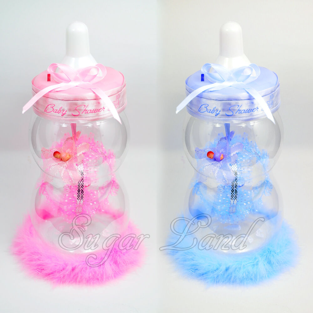 Baby shower table centerpiece jumbo bottle favors boy girl for Baby bottle decoration ideas