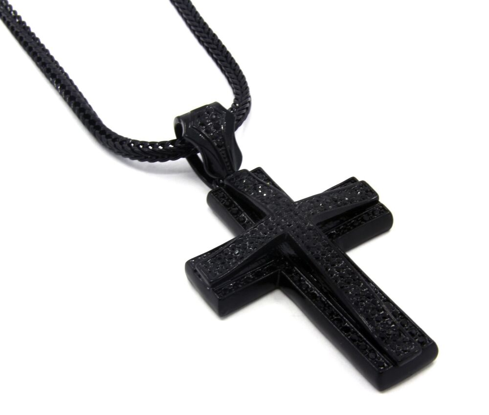 Mens large two cross black iced out pendant 36 inch for Black and blue jewelry cross necklace