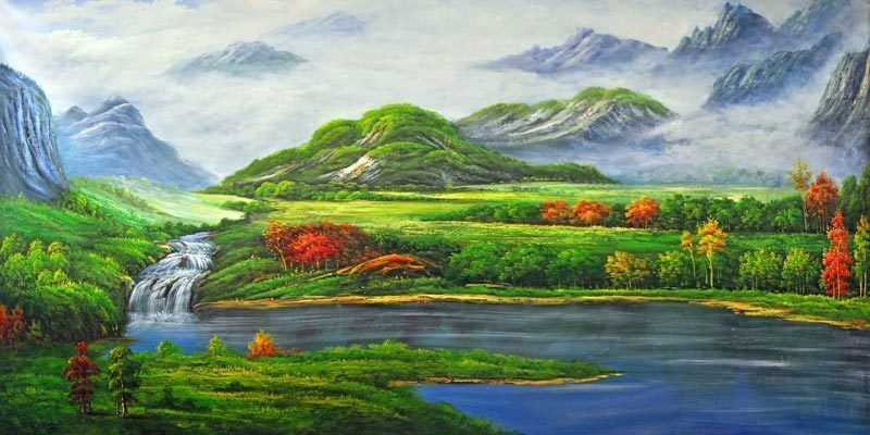 Scenetic view country oil paint full wall mural large for Mural nature