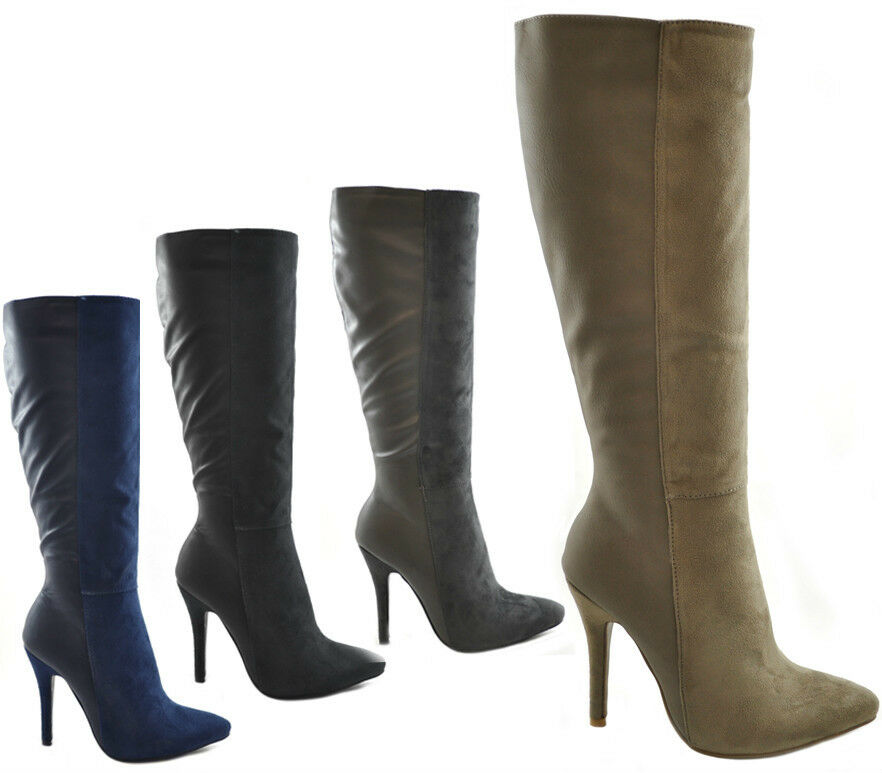 womens high heel knee boots faux leather suede work
