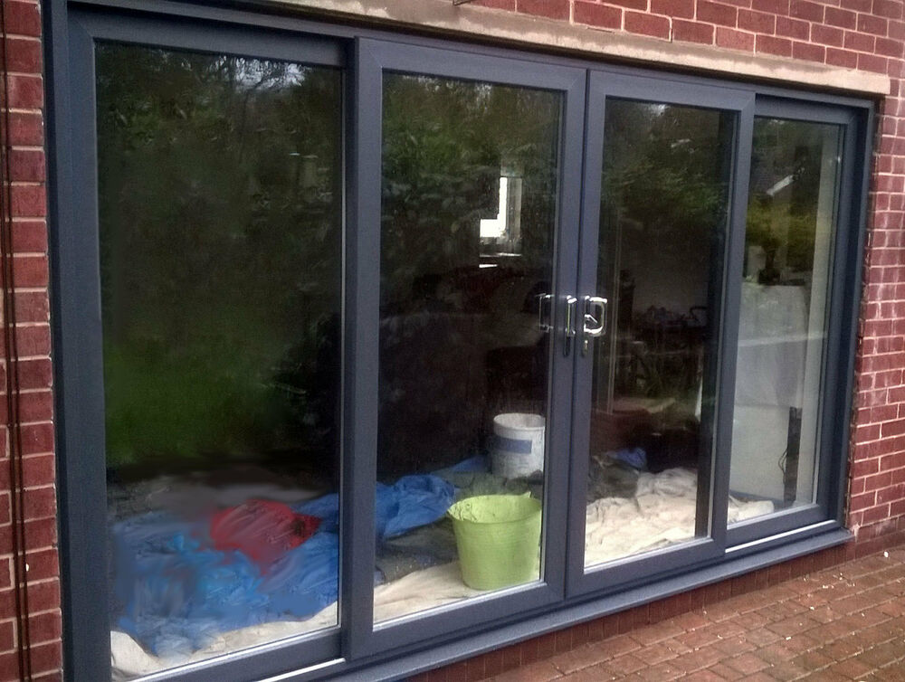Grey upvc 4 pane sliding patio door 3000 3200mm wide ebay for Wide sliding patio doors
