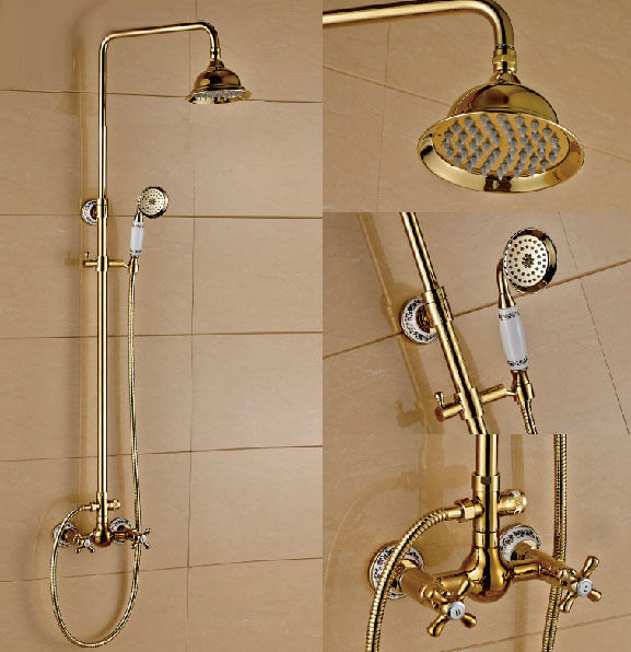 Luxury Gold Plated Bathroom Dual Handle Shower Faucet 8