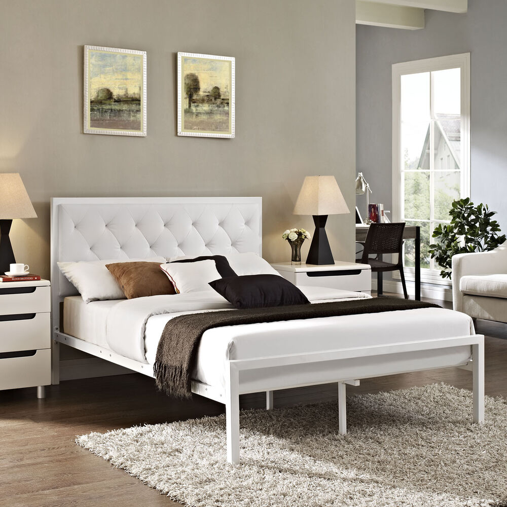 Queen Platform Bed Frame Padded Vinyl Upholstered
