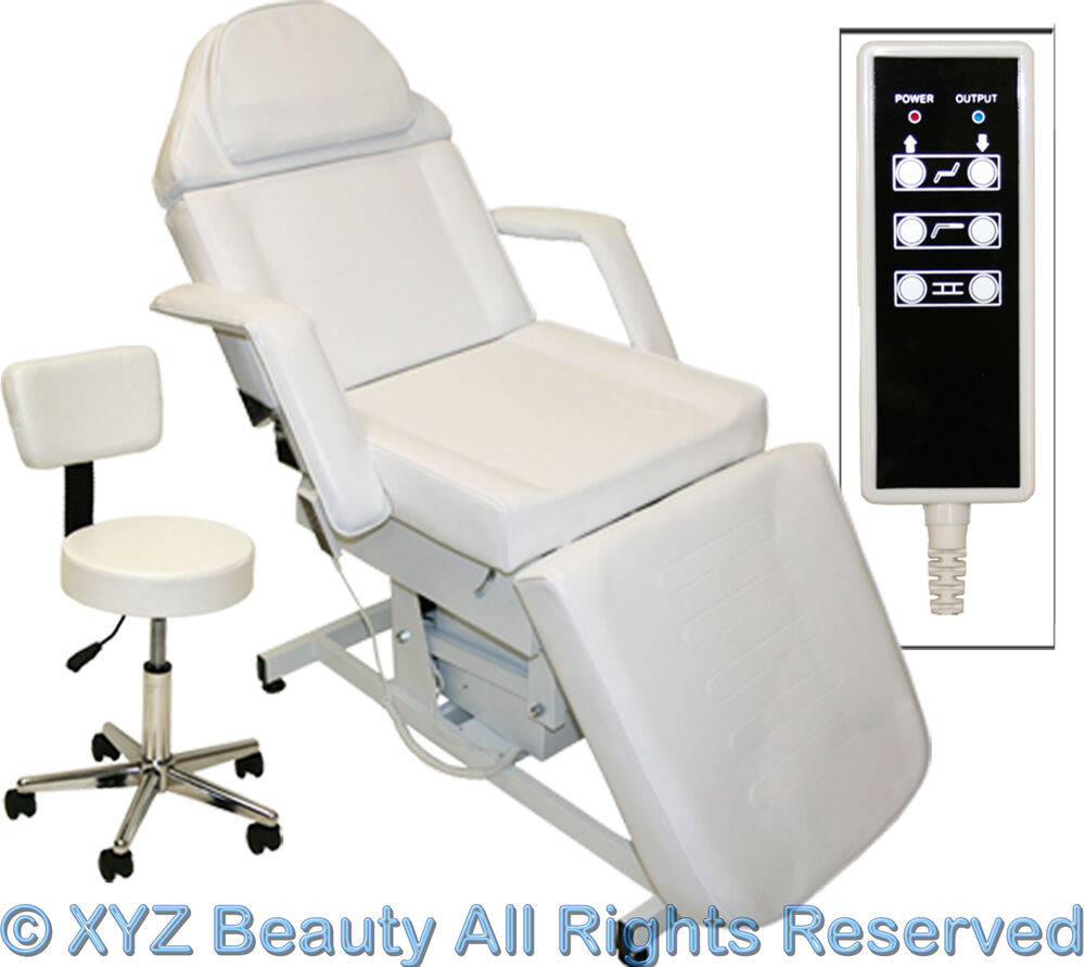 Fully electric white massage facial table bed chair beauty for Beauty salon bed