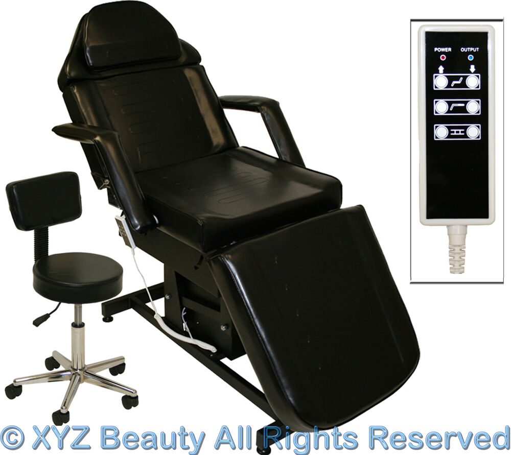Fully electric black massage facial table bed chair beauty for Beauty salon bed