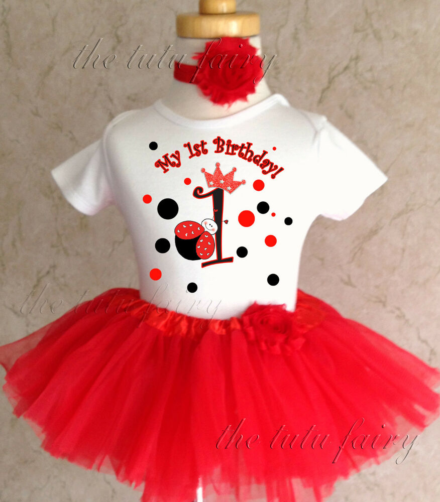 Birthday Party Outfit: Red Princess Ladybug Crown 1st First Birthday Tutu Outfit