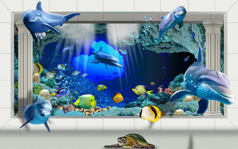 3D Underwater World Palace Roman Cols Full Wall Mural