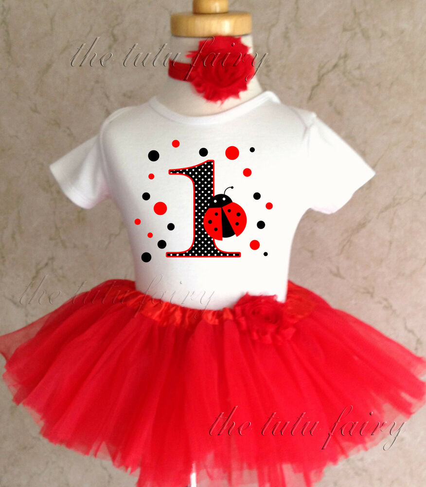 Polka Dots Red Ladybug Lady Bug 1st First Birthday Tutu