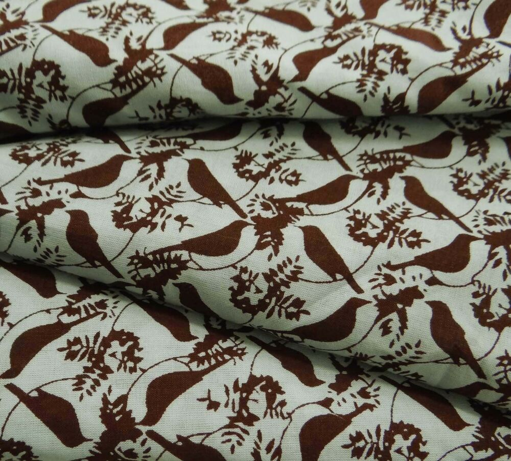Bird printed indian cotton fabric decorative 43 wide for Printed cotton fabric
