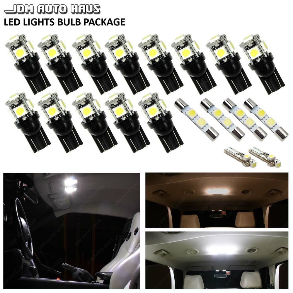 10x Blue Interior Led Lights Replacement Package Kit Fit: 19x White Interior LED Lights Package Kit For 2007-2016