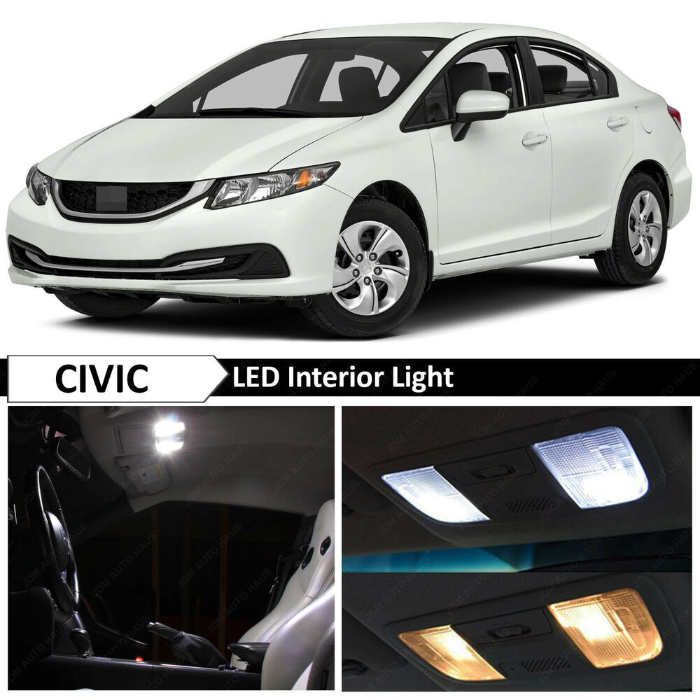 2013 2015 honda civic white interior led lights package sedan coupe free tool ebay. Black Bedroom Furniture Sets. Home Design Ideas