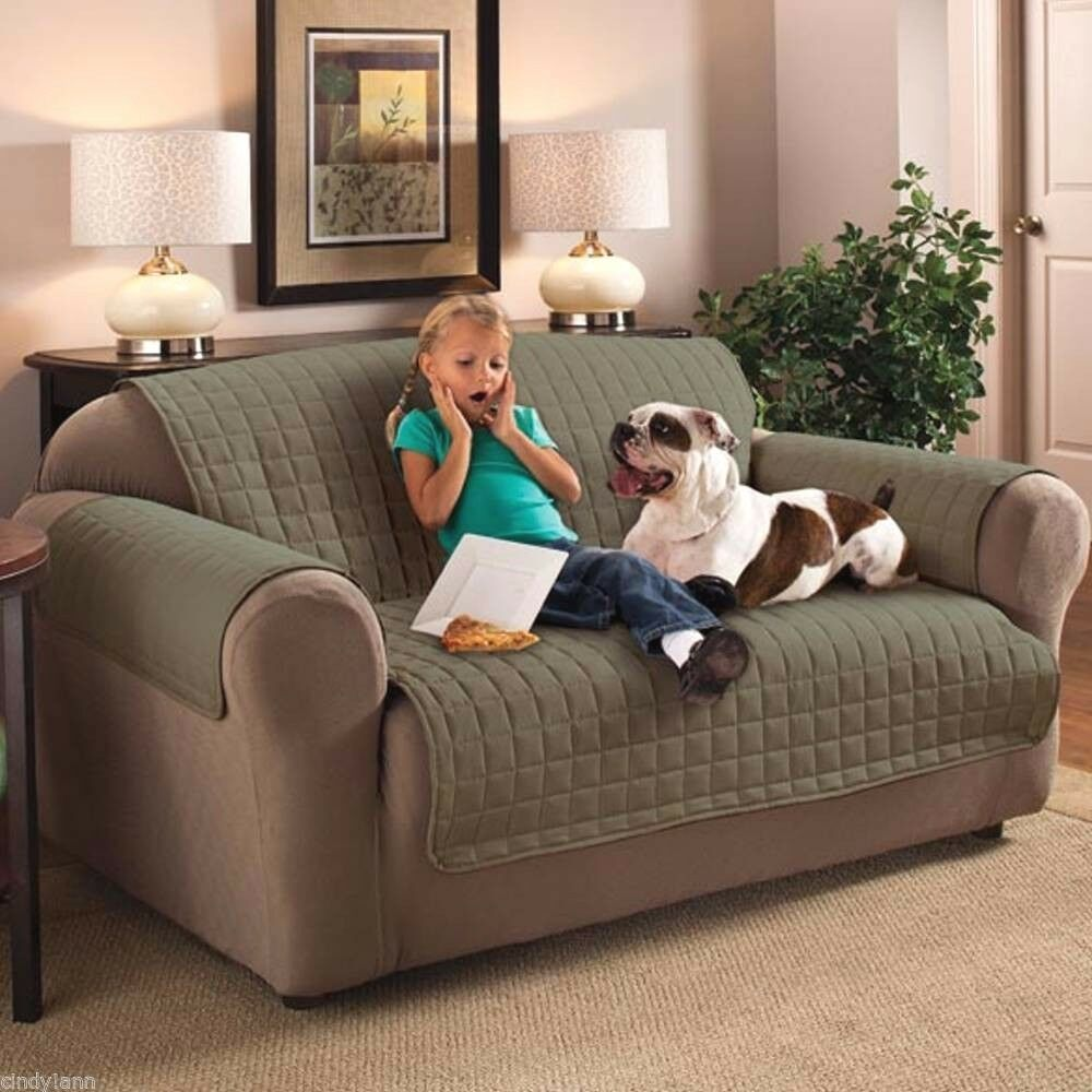 ITS GREEN MICROFIBER PET DOG KIDS SLIP COVER SOFA LOVESEAT