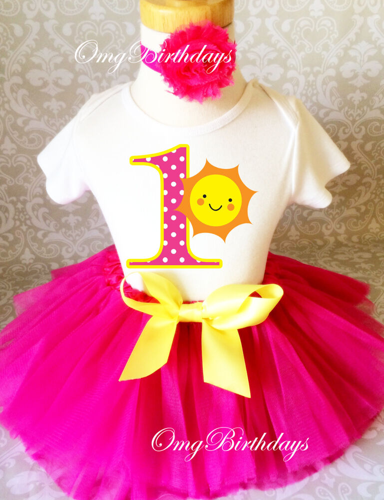 Pink Yellow Sun Sunshine Baby Girl 1st First Birthday Tutu