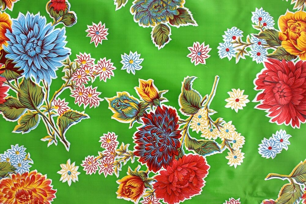 Green mum flowers mexican oilcloth pvc cotton waterproof for Fenetre pvc 50 x 60