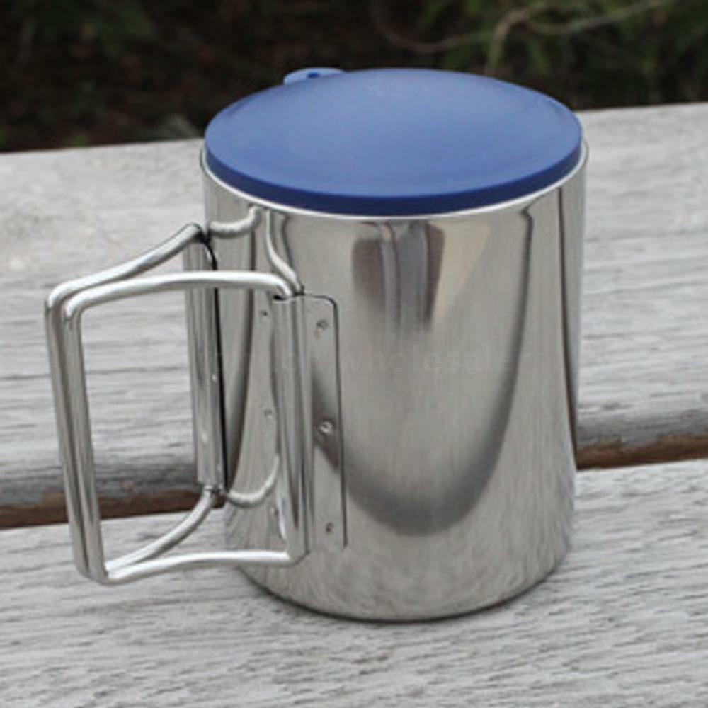 Travel Use Foldable Handle Camping Cup Stainless Steel