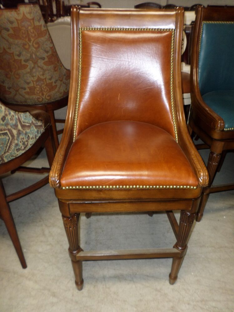 Frontgate Kent Chestnut Leather Barstool Bar 30 Quot Wood