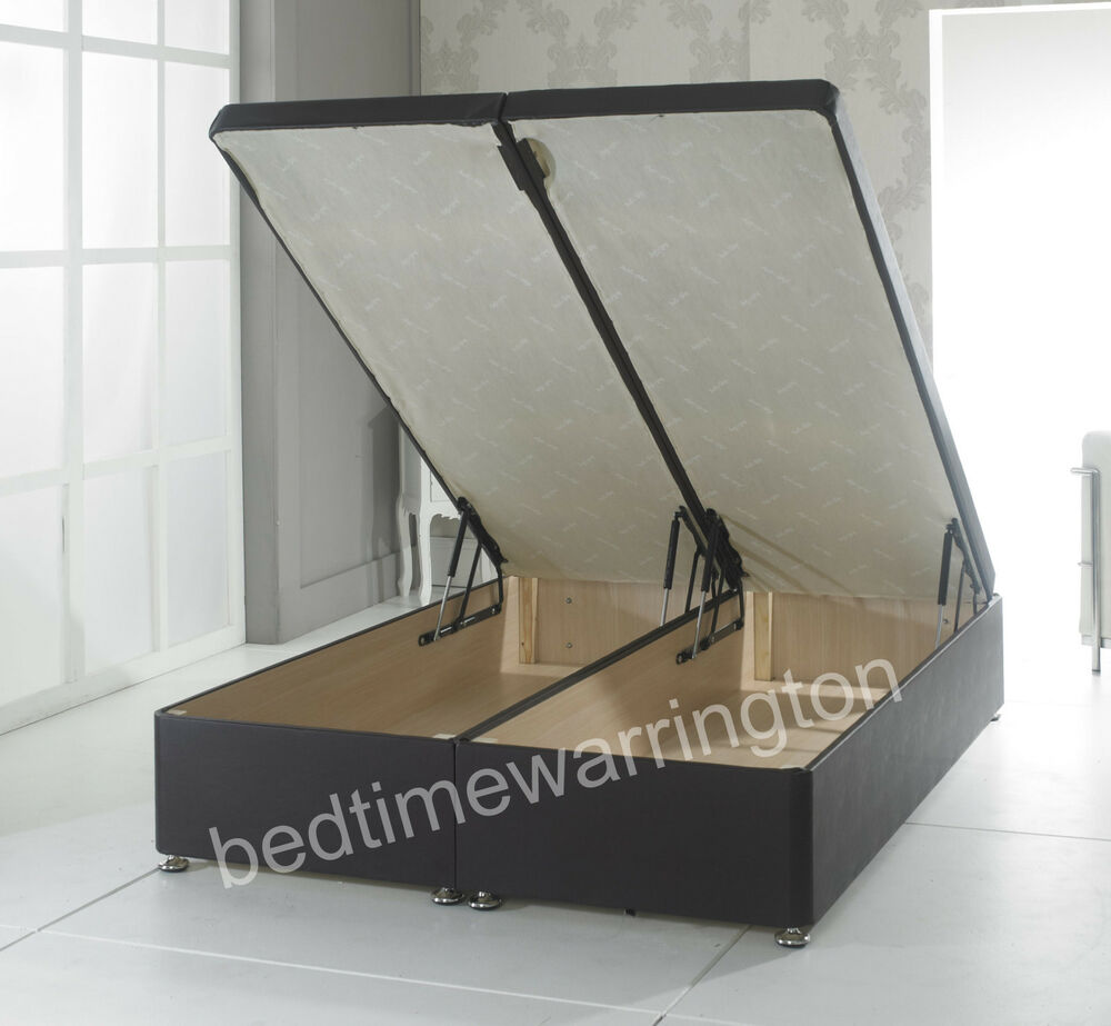 Ottoman faux leather end lift divan storage bed black for White divan bed with storage