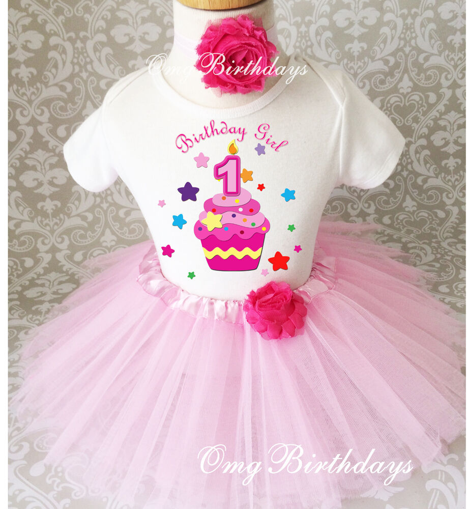 Pink Stars Cupcake Infant Baby Girl 1st First Birthday
