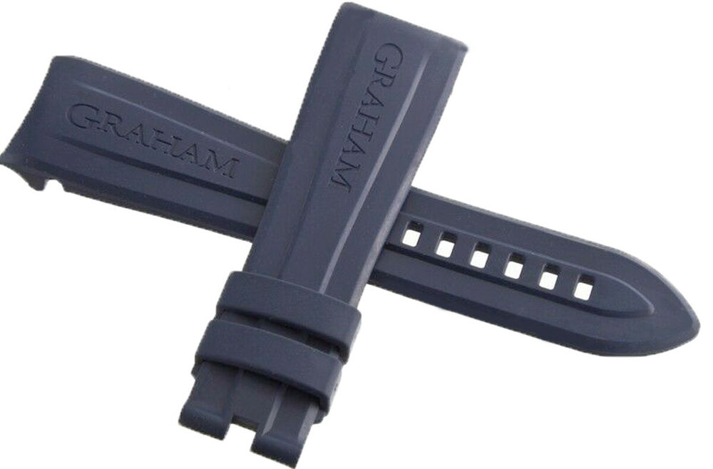 oem Graham Blue CHRONOFIGHTER Rubber Strap Watch Band 24mm ...