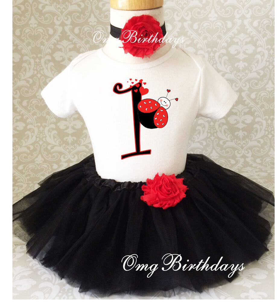 Red Black Ladybug Bug Infant Baby Girl 1st First Birthday