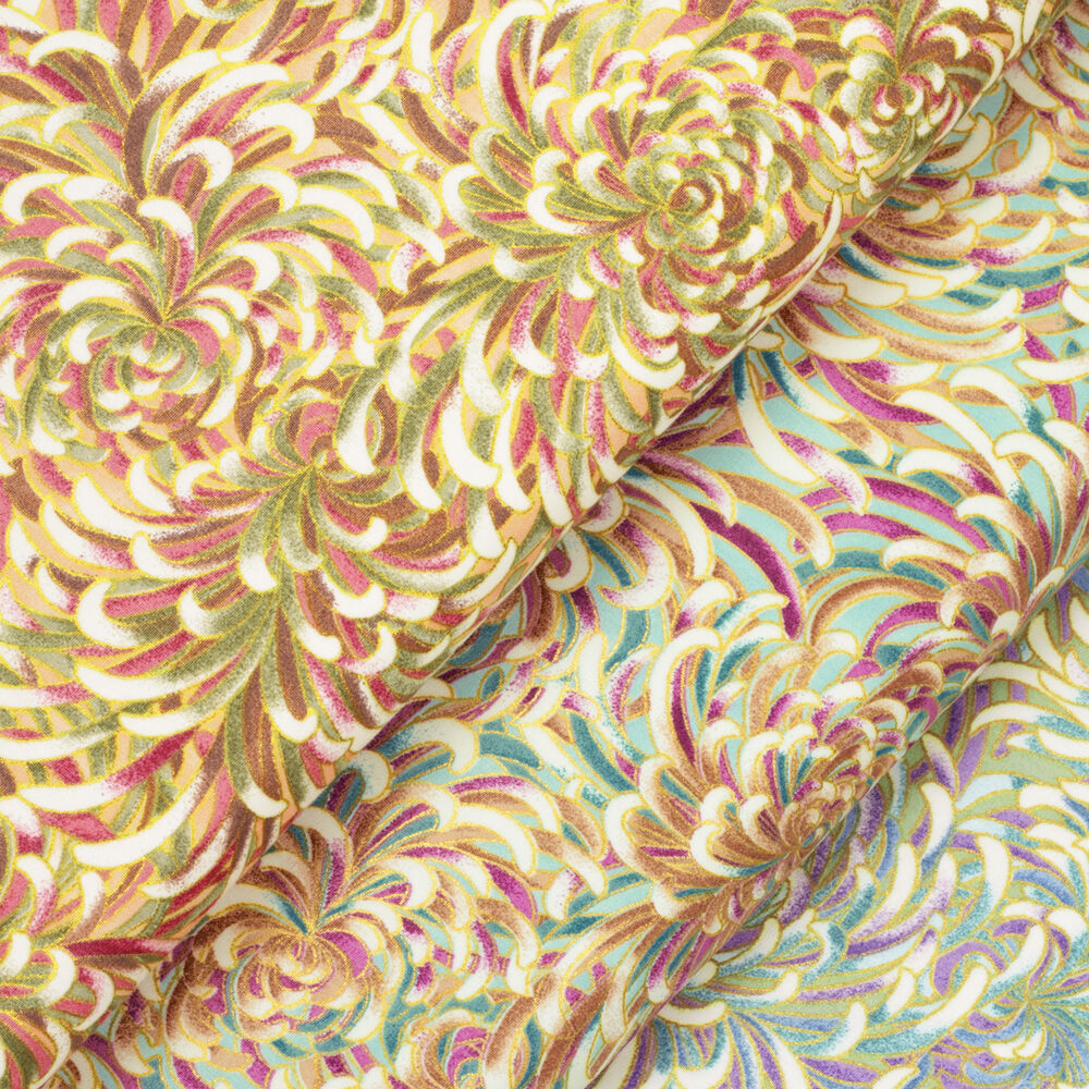 Japanese Cotton Fabric Per Fq Oriental Flower Leaves Asian
