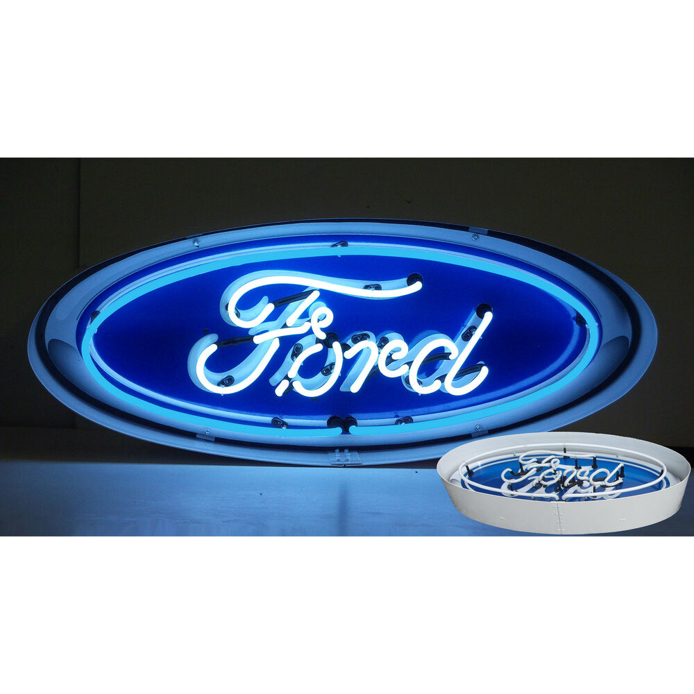 Ford Garage Signs : Neon sign dealership ford oval in metal can v lamp