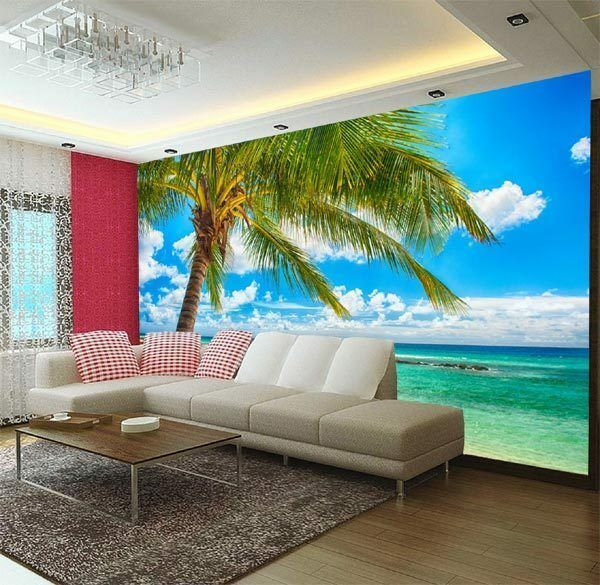 Palm sand tropical beach 3d full wall mural large print for Home wallpaper ebay