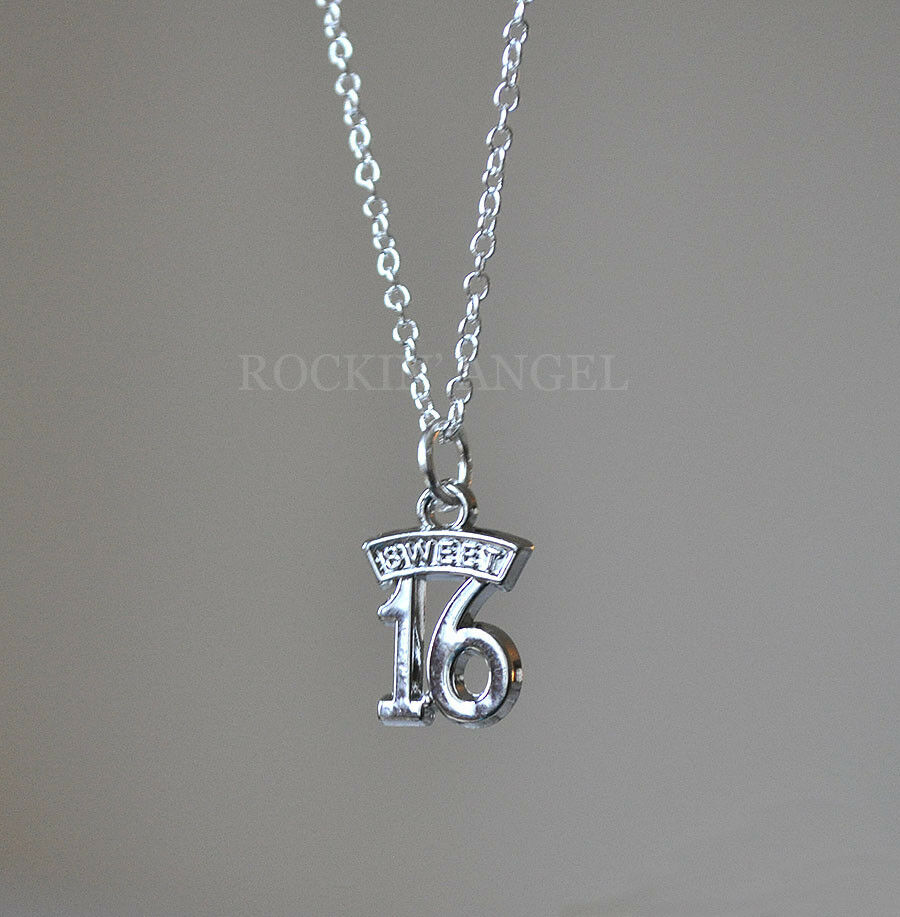 925 Silver Necklace With Platinum 'Sweet 16' Pendant