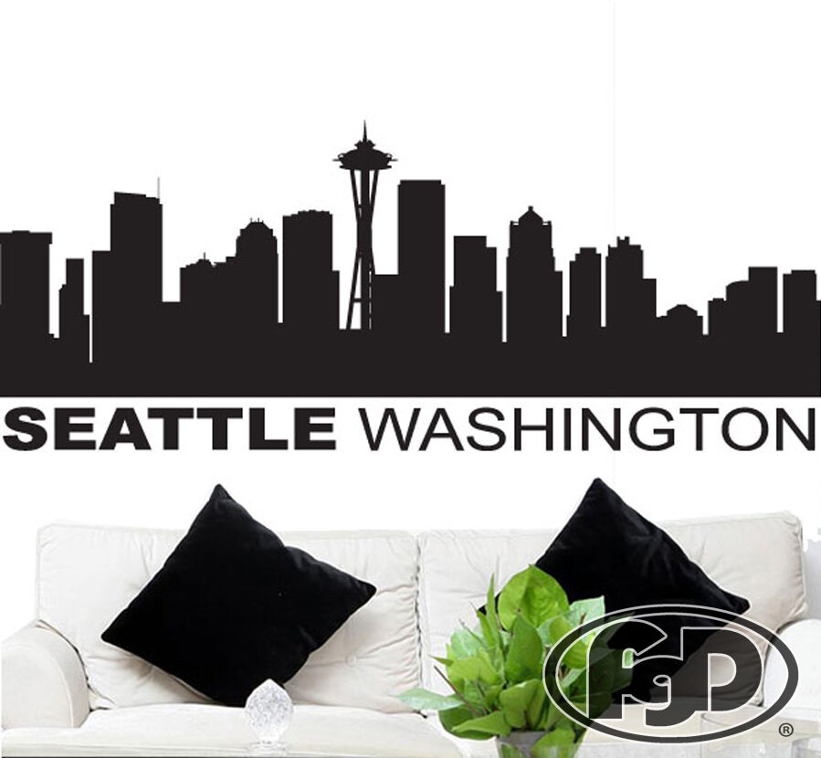 Wall Decal Sticker Seattle Skyline 22 Quot Tall 56 Quot Wide In