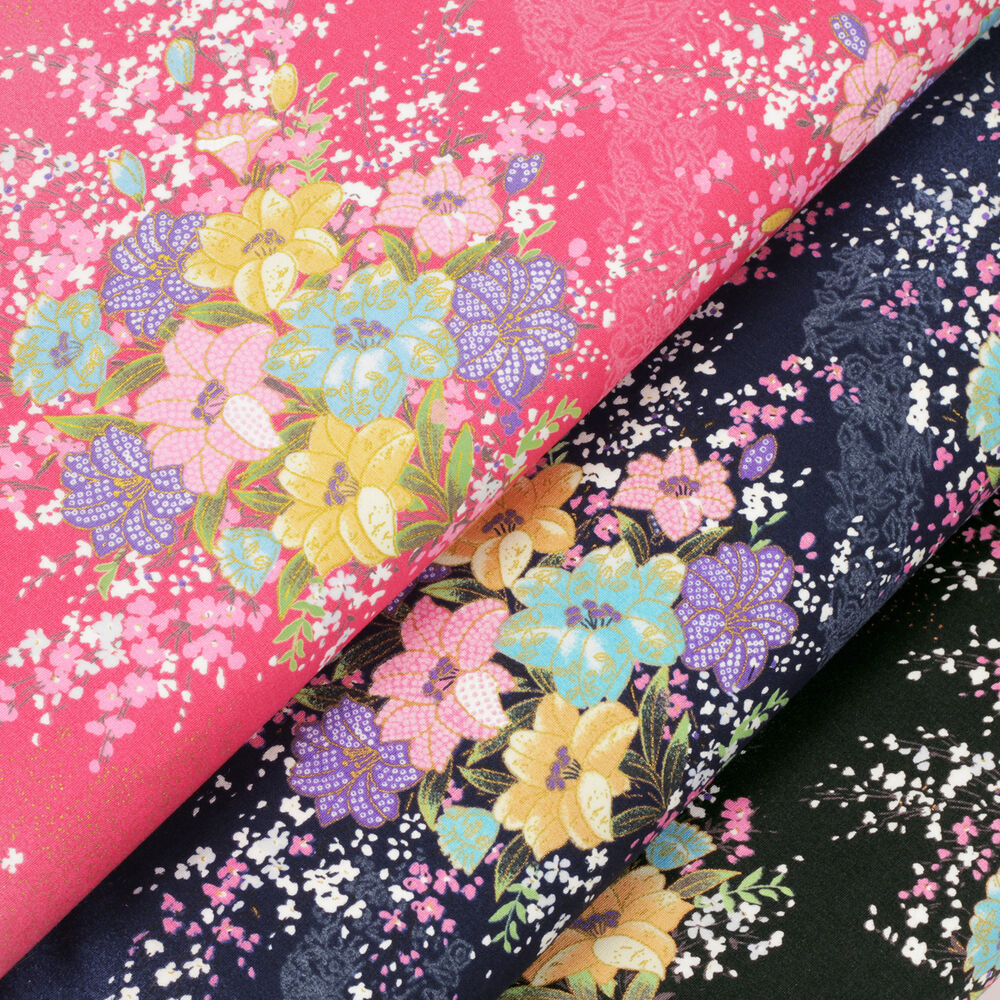 Fq japanese oriental flower field asian print cotton for Cotton quilting fabric