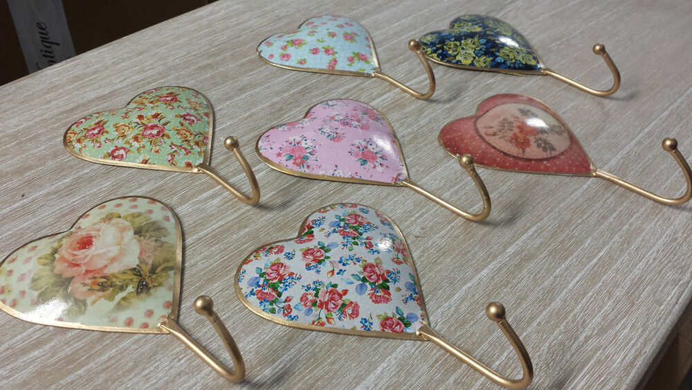 vintage country chic heart metal wall coat hook hooks shabby rose bedroom hall ebay. Black Bedroom Furniture Sets. Home Design Ideas