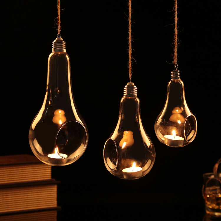 Clear Glass Hanging Bulb Lamp Candle Holder For Tealight