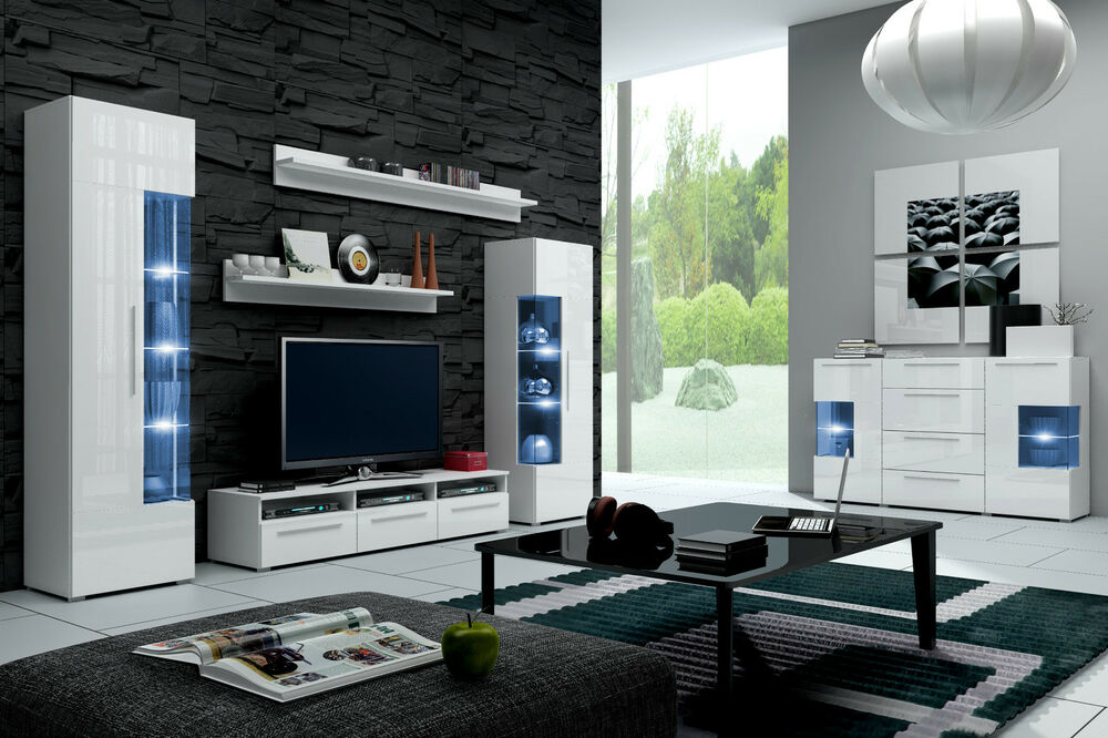 moderne wohnwand schrankwand hochglanz weiss roma mit led 5 teilig neu ebay. Black Bedroom Furniture Sets. Home Design Ideas