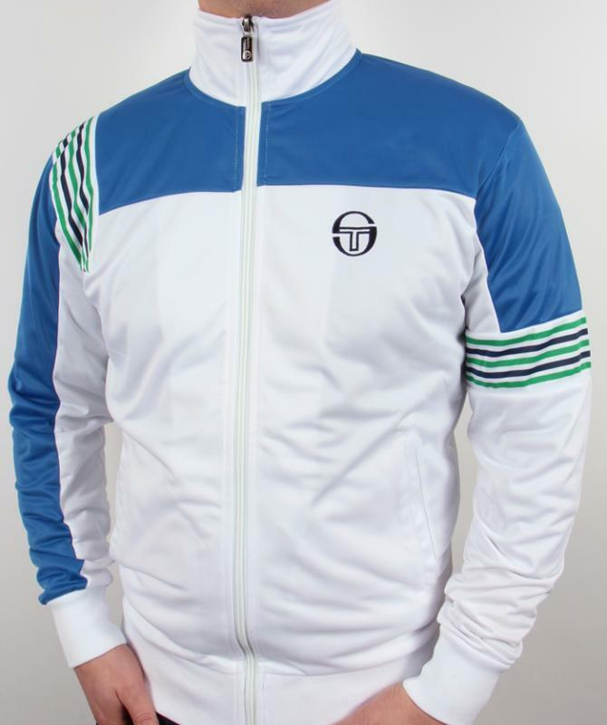 sergio tacchini wilander track top in white royal green. Black Bedroom Furniture Sets. Home Design Ideas