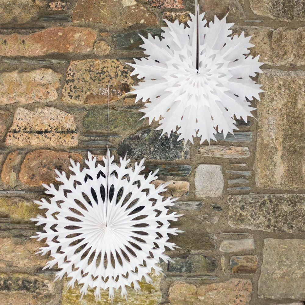 paper snowflake fan decorations x 2 large white christmas