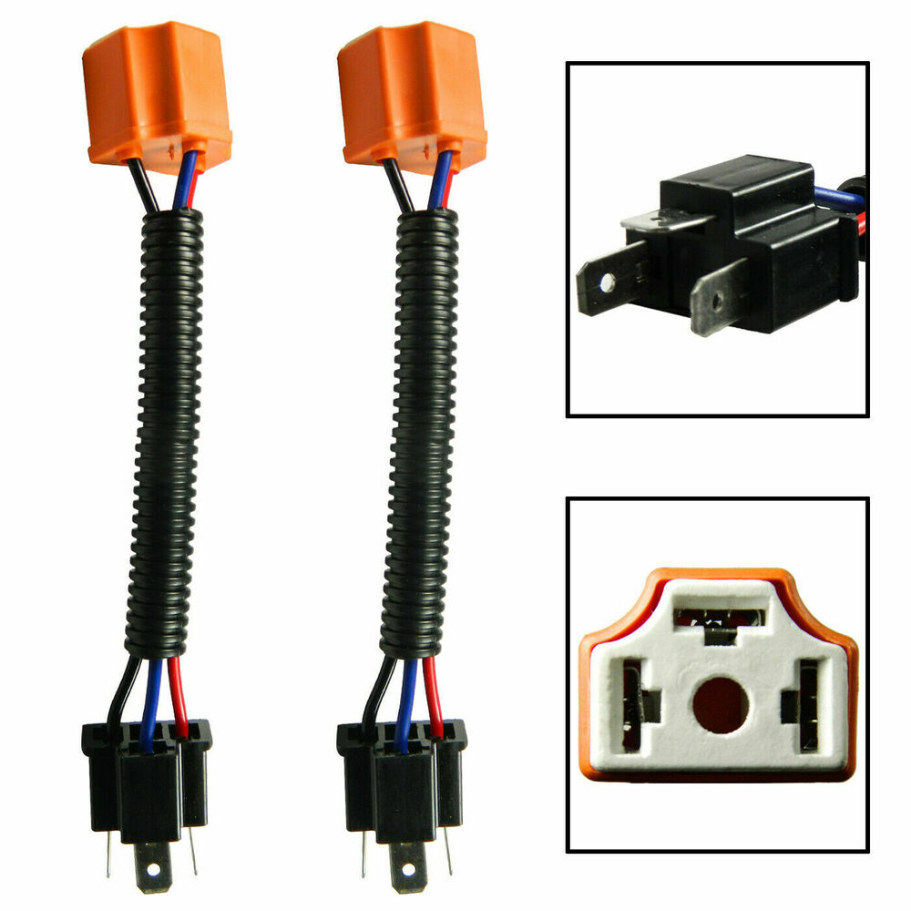 2x h4 9003 ceramic extension wire harness for high beam. Black Bedroom Furniture Sets. Home Design Ideas