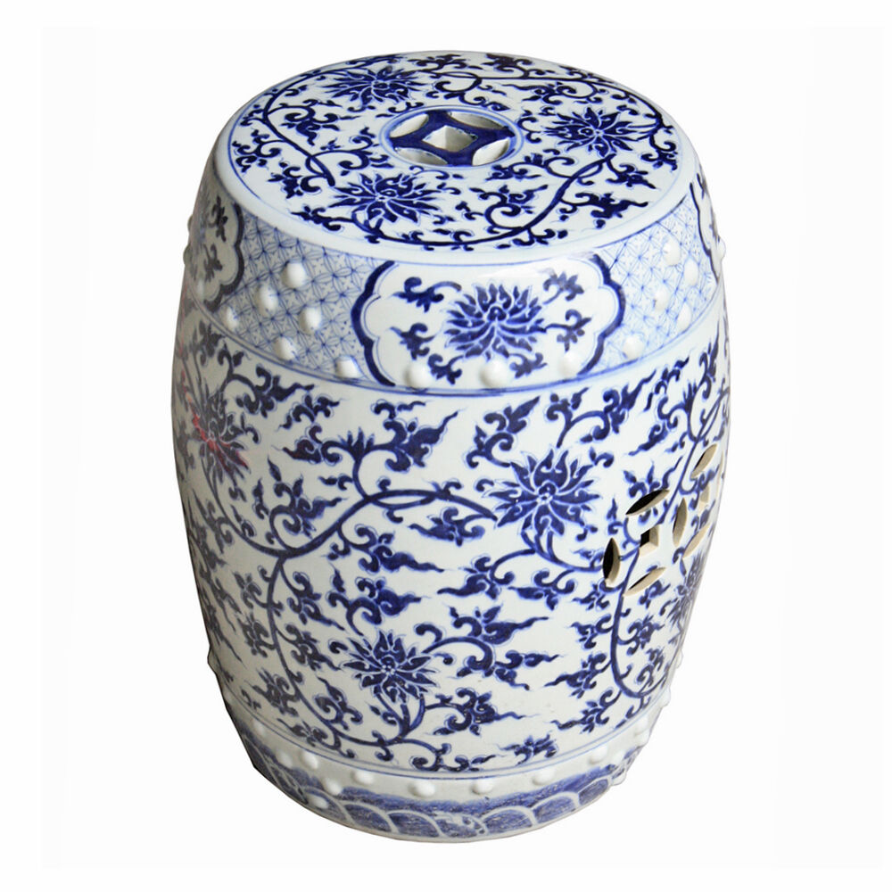 Blue White Lotus Chinese Garden Stool Ceramic End