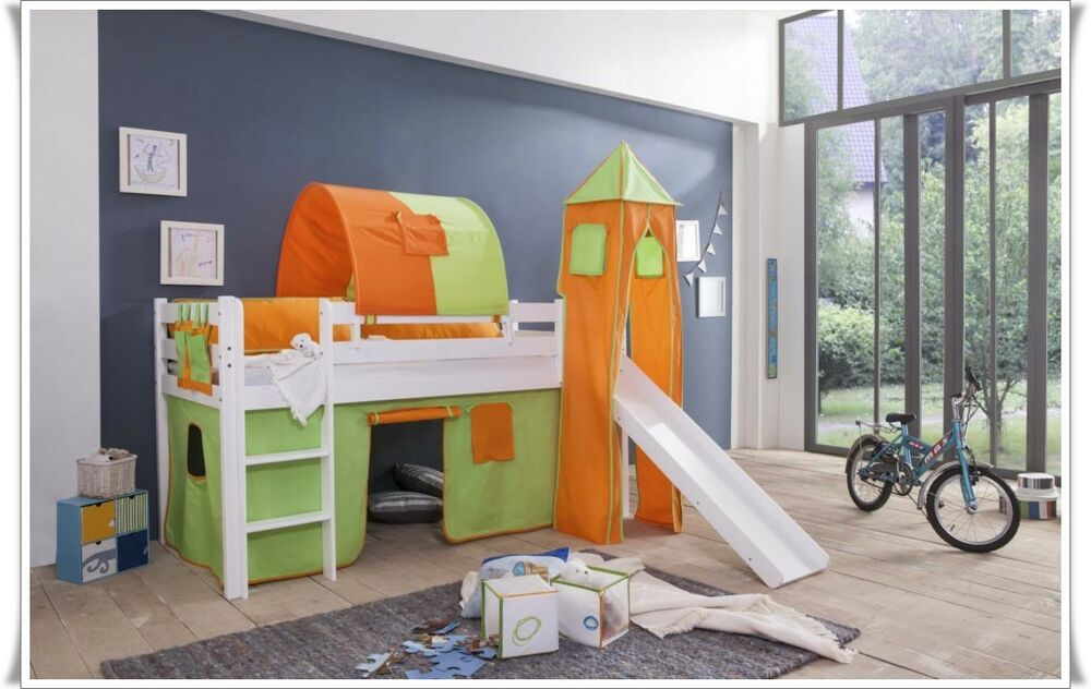 spielbett kinderbett hochbett mit rutsche vorhang turm. Black Bedroom Furniture Sets. Home Design Ideas