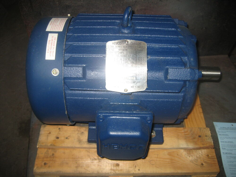 New 1 5 hp motor hemco cast iron 1200rpm 3 phase 182t for 5 hp single phase motor