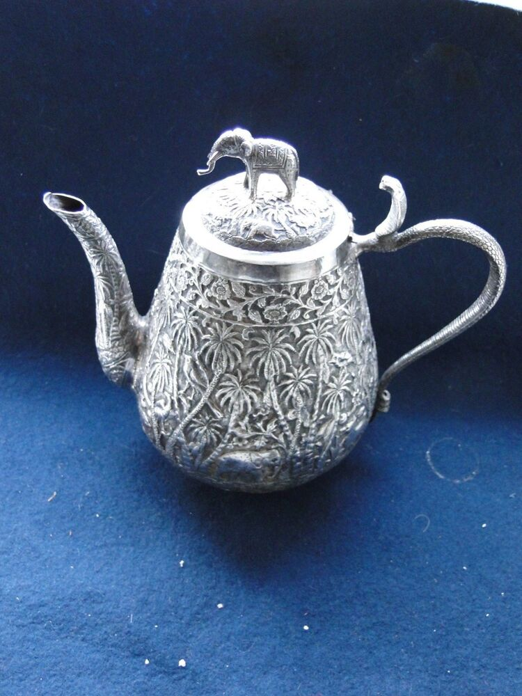 Tea Pot Sterling Silver India Chased And Engraved
