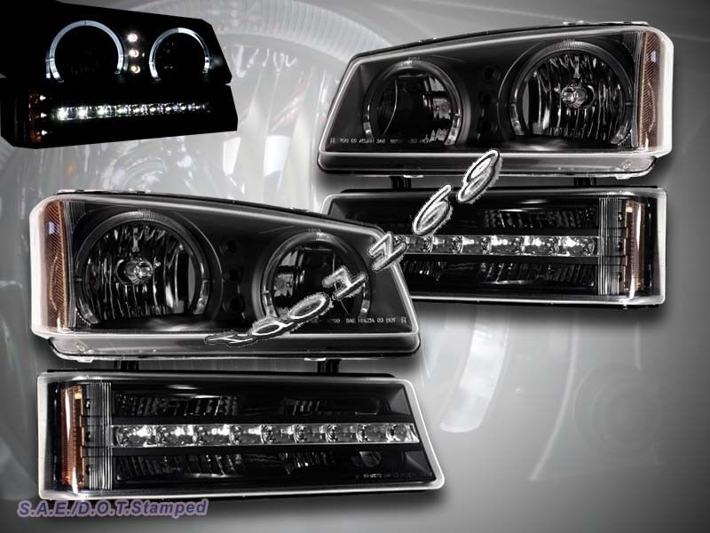 chevy silverado avalanche 03 06 black led headlights bumper lights twin halo ebay. Black Bedroom Furniture Sets. Home Design Ideas