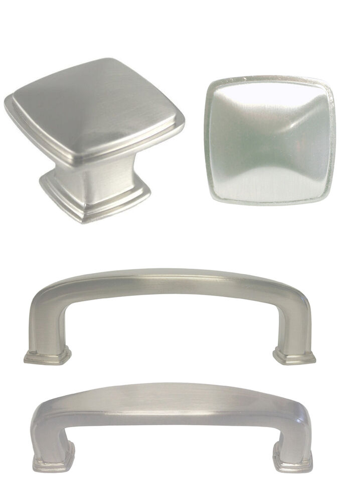 Satin nickel square kitchen cabinet drawer knobs and pulls for Square kitchen cabinet knobs