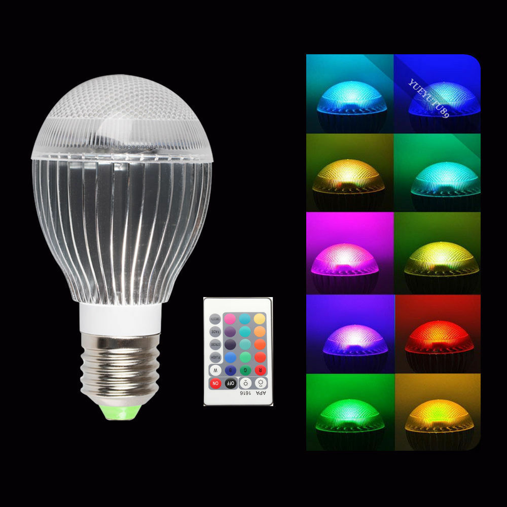 5W 10W E27 85-265V Remote Light Bulb RGB LED Lamp