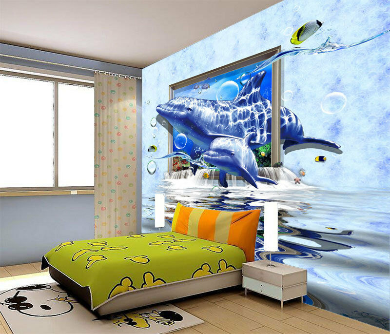 3d dolphin underwater world full wall mural photo for Decor mural 3d